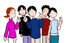 Fichas didácticas, jóvenesdibujo de jovenes haciendo el simbolo de la victoria con las manos