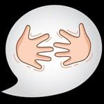 """Logo de las aplicaciones móviles """"Dilo con señas"""", con 2 manos enfrentadas, con gesto de entrelazarse"""