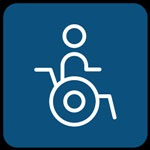 Logo de las aplicaciones móviles de Tenerife Accesible, con silueta de una persona en silla de ruedas, en blanco