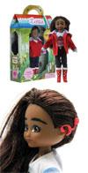 La muñeca Mia, con su caja y su implante auditivo, un juguete para discapacidad auditiva
