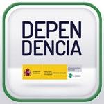 Producto de apoyo de Dependencia en 2 líneas (Depen-dencia) con letras en grande y negro. Debajo el logotipo de Ministerio de Sanidad, Servicios Sociales e Igualdad. Fondo en 2 tommos de gris, más claro en el tercio inferior.