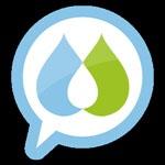 Producto de apoyo de Social Diabetes. Dos gotas, dentro de un bocadillo con borde azul. Una verde y azul, cuya intersección forma una gota blanca