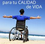 Banner de los productos de apoyo de Ilunion Salud con una persona en silla de ruedas