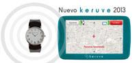 Producto de apoyo del localizador Keruve 2013 junto a un reloj