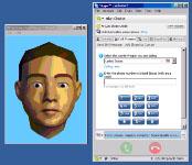 Pantalla que muestra el software de interlocución animado del producto de apoyo Synface