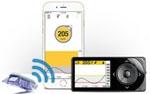 Producto de apoyo de Dexcom G5. Aparato medidor de azucar con la app correspondiente abierta en el móvil