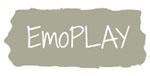 """Logotipo del producto de apoyo """"EmoPLAY"""" escrito en grande. Ocupa toda la imagén. Fondo gris."""