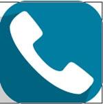 Producto de apoyo del Teléfono para personas mayores. Auricular de teléfono blanco, inclinado 45 grados a la izquierda. Fondo azul