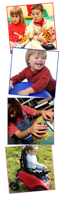 Distintos niños con discapacidades diferentes jugando con juguetes accesibles para ellos (Fuente: HopToys.es)