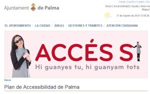 banner de accesibilidad del ayuntamiento de Palma, con chica ciega en portada