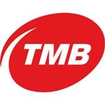"""""""TMB"""" en blanco, dentro de una viñeta roja y fondo blanco, de de la guía de transporte urbano"""