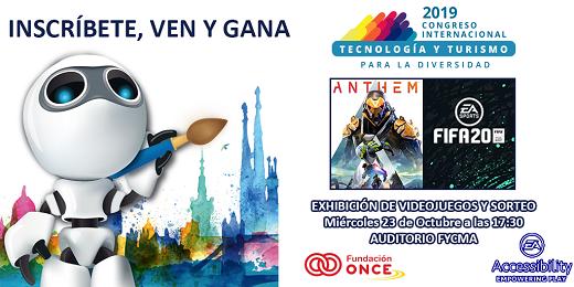 cartel del sorteo del congreso inscríbete, ven y gana, conoce las oportunidades de los videojuegos, logos fundación once