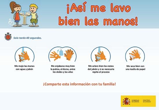 cartel sobre cómo lavarse las manos por el coronavirus, dos niños lavándose las manos, consejos y logos del ministerio de sanidad y del gobierno