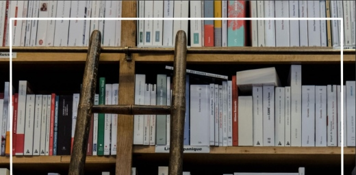 libros en una estanteria y escalera para llegar a ellos, portada de estudio de comprensión lectora