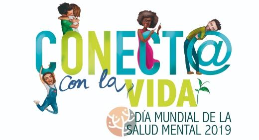 personas abrazándose y abrazando la frase Conect@a con la vida y Día Mundial de la Salud Mental 2019