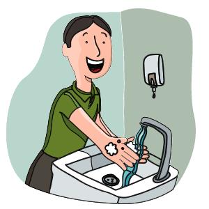Mujer lavándose las manos con agua y jabón