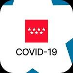 """Bandera de Madrid, y debajo """"COVID 19"""" en negro."""