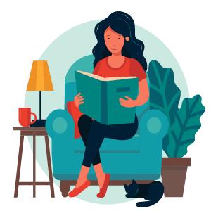 mujer leyendo un libro en el sofá de su casa
