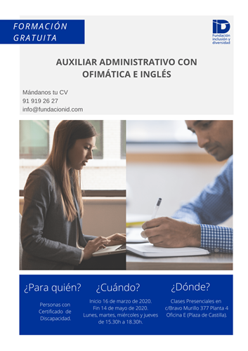 Cartel del curso de Auxiliar Administrativo de Fundación Inclusión y Diversidad
