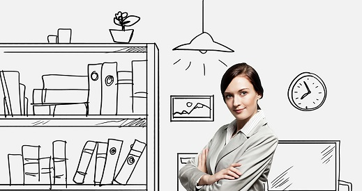 Día Internacional de la Mujer 2019, mujer delante de escritorio y mueble con archivador