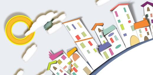 silueta edificios de colores, dónde vivir, a veces es un reto
