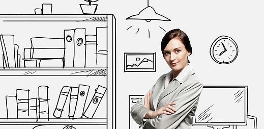 enfermedades laborales, riesgos en oficinas y despachos, mujer en oficina