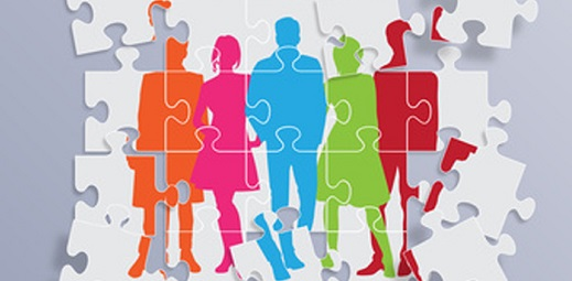 puzzle con siluetas de personas en colores, estrés