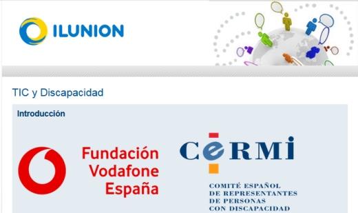 cabecera del estudio TIC con los logos de las entidades ILUNION, Fundación Vodafone y CERMi