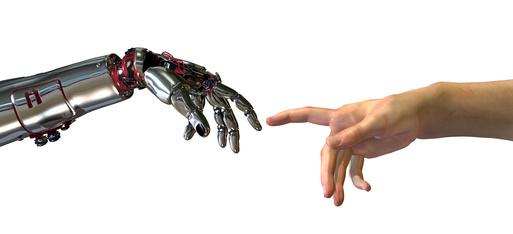 mano robotica y mano de persona, exoesqueletos