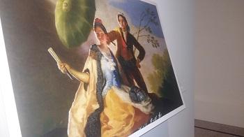 Cuadro de Goya en relieve, el parasol, pareja con parasol