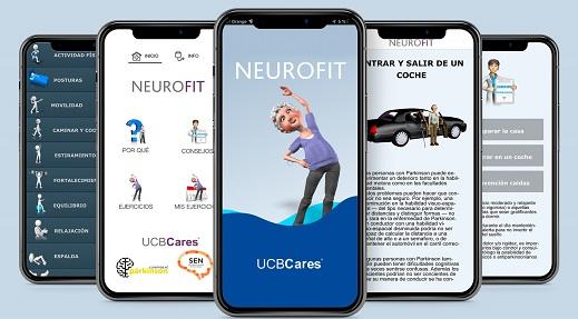 pantallazos de la app de NeuroFit con una persona haciendo ejercicio y otros servicios