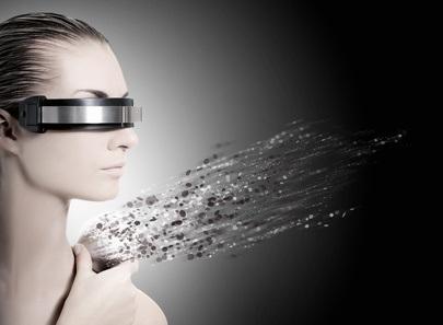 Una joven con gafas en 3D y con esquizofrenia