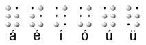 Letras a, e, i, o y u en lenguaje braille