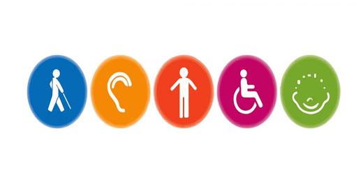 Los diferentes símbolos de las distintas capacidades para referirse a las Necesidades de las personas con discapacidad