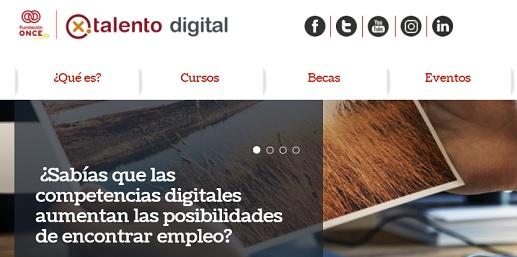 web Por Talento Digital con logo de Fundación ONCE ¿sabías que las competencias digitales ayudan a encontrar empleo?