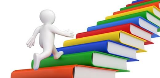 silueta de persona subiendo escalera de libros de colores
