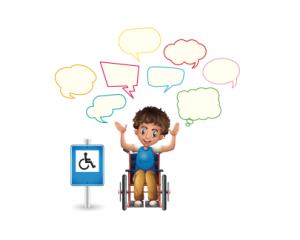 dibujo de persona en silla de ruedas al lado de señal de parking reservado a personas con discapacidad, iniciativa de la sesion de demos