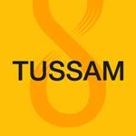 """""""TUSSAM"""" en negro, sobre fondo amarillo, de la guía de transporte urbano"""
