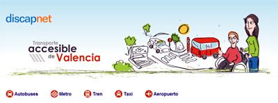 Portada de la Guía de Transportes acceibles de Valencia (varios transportes terrestres juntos), de la guía de transporte urbano