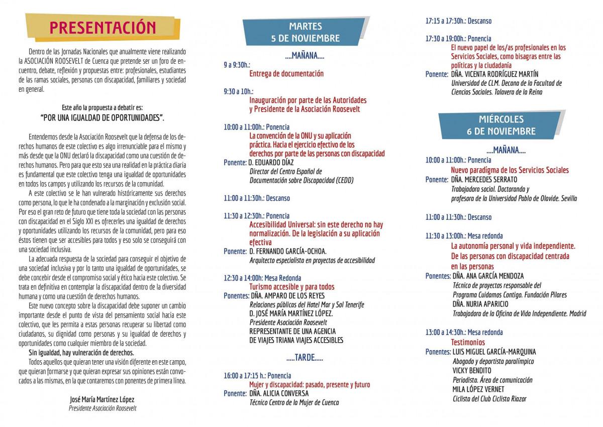 Tríptico del programa de las XXIII Jornadas Nacionales de la discapacidad