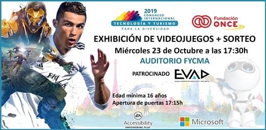 Banner de la exhibición de videojuegos inclusivos en el III Congreso de Tecnología y Turismo