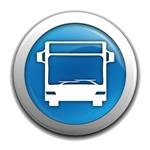 Autobús blanco, dentro de un circulo azul con borde gris con fondo blanco, de la guía de transporte urbano