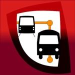 Dos autobuses negros, en perspectiva con fondo blanco y rojo, de la guía de transporte urbano